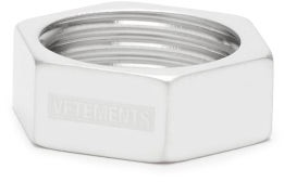 Vetements Logo-engraved Nut Ring - Silver
