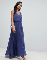 Asos Design DESIGN pleated crop top maxi dress
