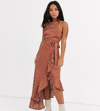 New Look Petite ruffle hem tie front satin dress in rust polka dot