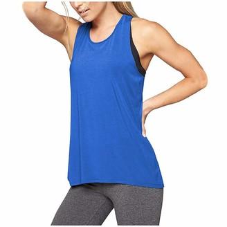 kolila Womens Yoga Tank Tops Back Running Activewear Workout Shirts Built in Shelf Bra B/C Cups Strappy for Women (Blue S)
