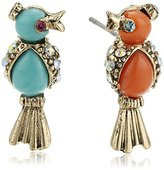 "Betsey Johnson Betsey's Delicates"" Turquoise and Coral Bird Stud Earrings"
