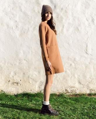 Beaumont Organic AW20 - Alexis Organic Cotton Dress In Tan - Tan / Extra Small