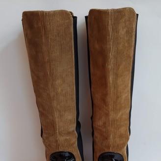 Dolce & Gabbana Camel Velvet Boots