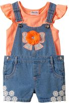 Little Lass Toddler Girl Flutter Tee & Bow Embellished Denim Shortalls Set