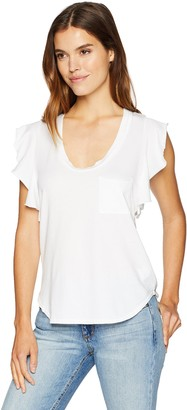 Pam & Gela Women's Flutter Sleeve Scoop Neck TEE