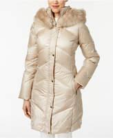 Larry Levine Faux-Fur-Trim Down Coat