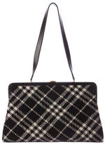 Burberry Leather-Trimmed Wool Frame Bag