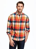 Old Navy Regular-Fit Plaid Flannel Pocket Shirt for Men