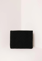 Missguided Black Woven Detail Clutch Bag