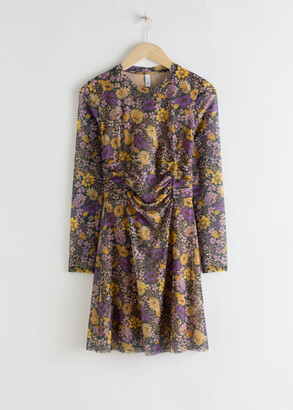 And other stories Gathered Waist Floral Mini Dress