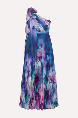 Marchesa One-shoulder Pleated Printed Chiffon Gown - Blue