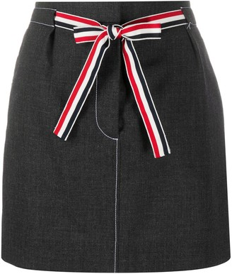 Thom Browne Short Wool Skirt With Waist Tie