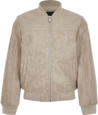 River Island Boys Beige faux leather bomber jacket