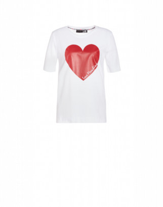 Love Moschino Jersey T-shirt With Heart Woman White Size 38 It - (4 Us)