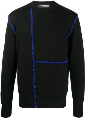 Les Hommes Contrast Stitch-Embellished Jumper