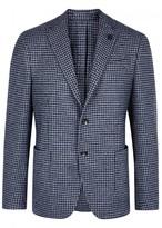 Lardini Navy Houndstooth Wool Blazer