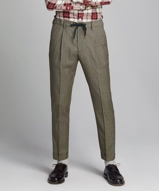 Todd Snyder Italian Stretch Wool Drawstring Trouser in Brown Plaid