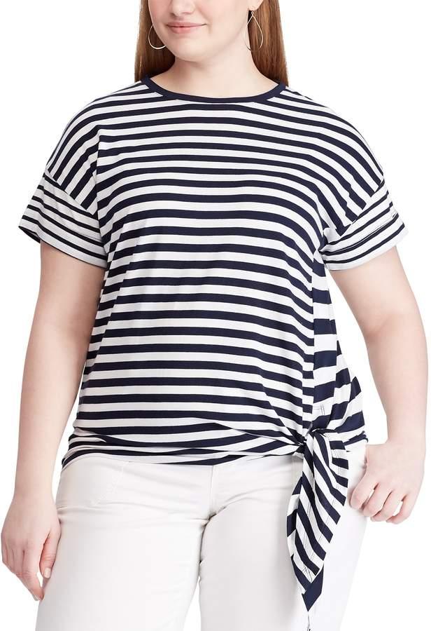 Chaps Plus Size Short Sleeve Side Tie Top