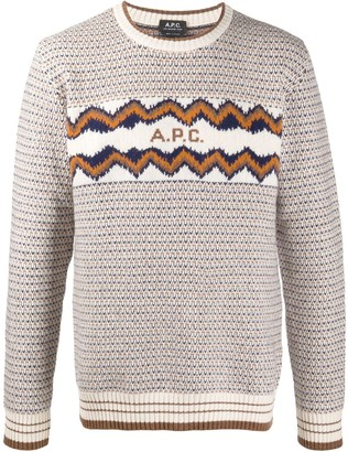 A.P.C. Intarsia Knit Round Neck Jumper