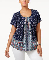 Style&Co. Style & Co Plus Size Floral-Print Pleated-Neck Top, Created for Macy's