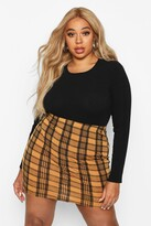 Thumbnail for your product : boohoo Plus Checked Mini Skirt