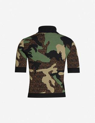 Moschino Branded camo-print wool T-shirt