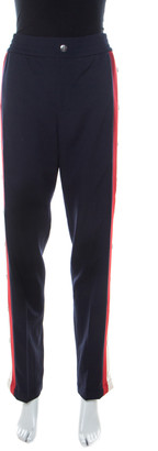 Gucci Navy Blue Wool & Silk Blend Striped Side Seam Snap Button Detail Sweatpants S