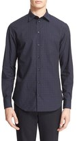 Armani Collezioni Men's Trim Fit Check Sport Shirt
