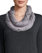 Neiman Marcus Bead-Embellished Infinity Scarf, Gray/Silver