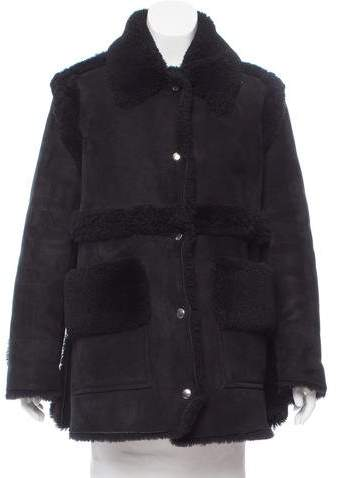Acne Studios Shearling-Trimmed Suede Coat