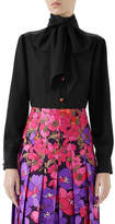 Gucci Long-Sleeve Neck-Bow Silk Crepe de Chine Blouse w/ Ladybug Buttons