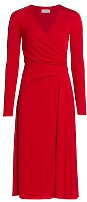 Halston Remi Long-Sleeve Jersey Midi Dress