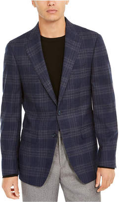 Calvin Klein Men Slim-Fit Windowpane Plaid Wool Sport Coat