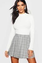 boohoo Woven Check Pleated Kilt Mini Skirt