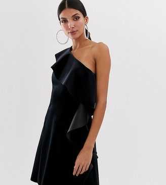 Asos Tall DESIGN Tall velvet one shoulder ruffle mini dress