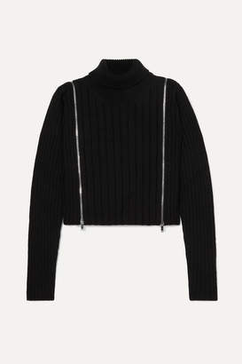Palm Angels Cropped Zip-detailed Ribbed Wool-blend Turtleneck Sweater - Black