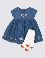 Marks and Spencer 2 Piece Denim Dress with Tights Outfit
