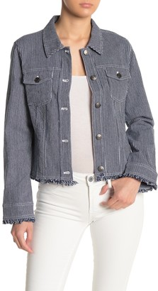 Cupcakes And Cashmere Montreal Striped Twill Fray Hem Trucker Jacket