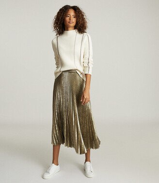 Reiss Gemma - Metallic Pleated Midi Skirt in Gold