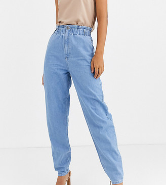 Asos Tall ASOS DESIGN Tall soft peg jeans in light vintage wash with elasticated cinched waist detail