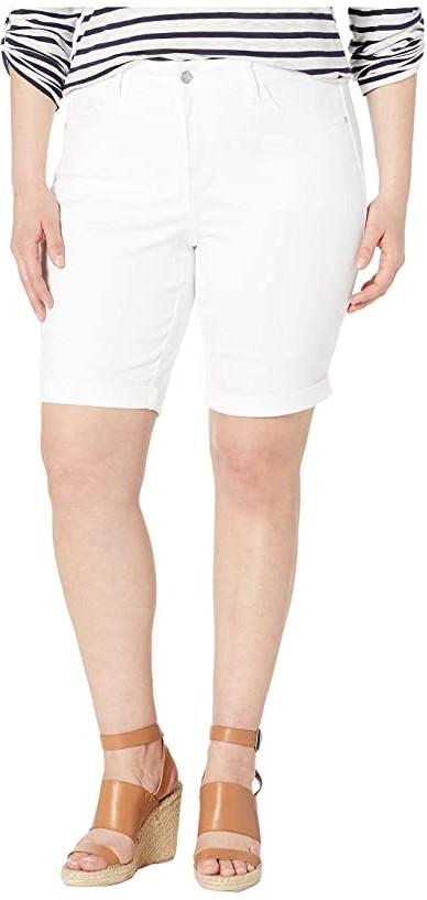 NYDJ Plus Size Plus Size Briella Roll Cuff Shorts in Optic White