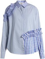MSGM Ruffled-trim contrast-panelled shirt