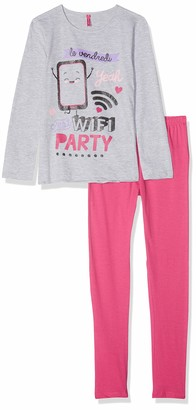 Lina Pink Girls' EF.WIFI.PL2 Pyjama Sets Rose Fuchsia/Gris Chine) 10 Years