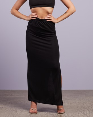 Missguided Women's Black Maxi skirts - Side Split Maxi Skirt - Size 6 at The Iconic