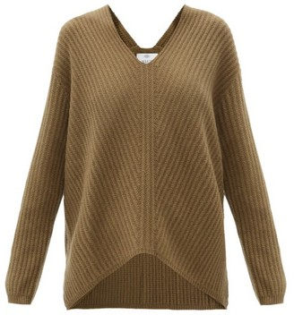Allude V-neck Ribbed Cashmere Sweater - Khaki