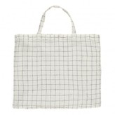 Linge Particulier Giant White/Navy XL Checked Washed Linen Tote Bag