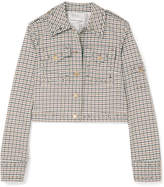Sonia Rykiel Cropped Studded Checked Woven Jacket - Off-white