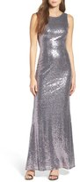 LuLu*s Sleeveless Sequin Drape Back Gown