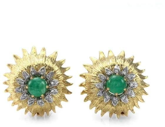 Palladium 18K Yellow Gold and Emerald and Diamond Halo Clip-On Earrings