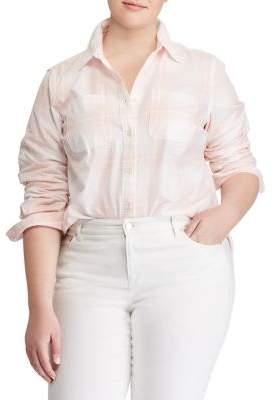 Lauren Ralph Lauren Plus Plaid Rolled-Cuff Cotton Button-Down Shirt